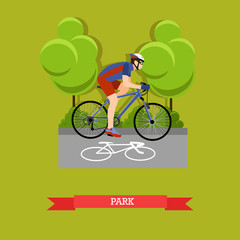 Cycling in the park, flat design