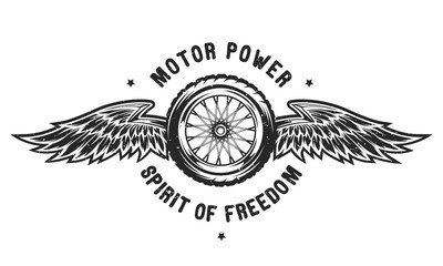Wheel and wings, the spirit of freedom.