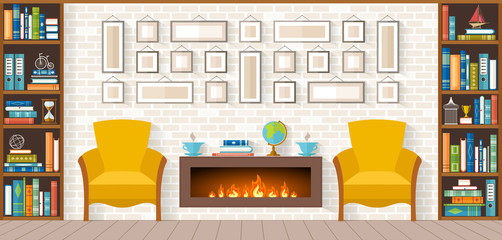 living room with furniture, bookshelves, fireplace, paintings, accessories. Flat style vector illustration Interior Design