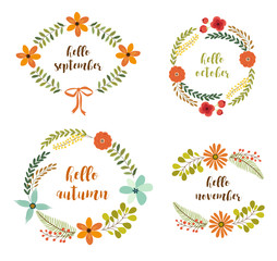 Cute set of rustic hand drawn wreathes with nature elements in traditional autumn colors for your decoration