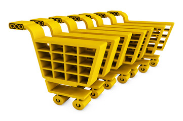 3d shop carts. 3d image. Isolated white background. 3D render