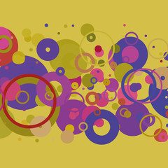 Colorful Abstract Background with Dots, Rings, Bubbles