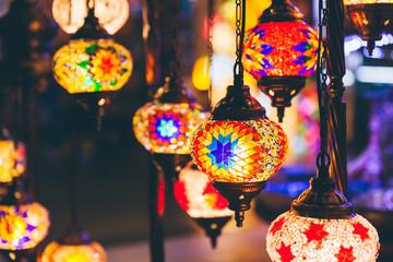 Turkish Mosaic Lamps at the souvenir market stall.