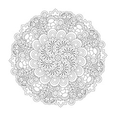 Round element for coloring book. Black and white floral pattern. Vector illustration.