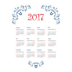 Calendar 2017.
