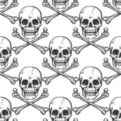 Black and white seamless pattern with sketched skull and cross of bones. Vector illustration