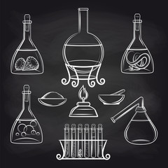 Hand drawn science lab equipment set on chalkboard vector illustration