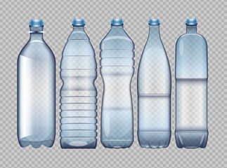 Vector set of blue transparent plastic bottle for juice and water mockup ready for your design