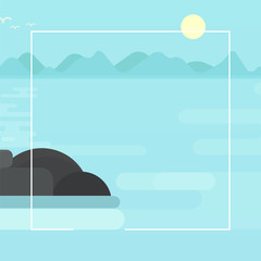 Square banner template early morning on a misty lake in Scandinavia, sunrise, seascape, flat vector illustration