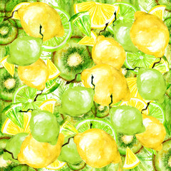 Watercolor seamless vintage pattern made up of drawings of fruit - lime, lemon, kiwi, citrus.