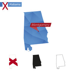 State of Alabama blue Low Poly map with capital Montgomery.