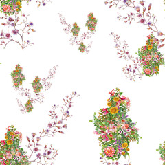 Watercolor illustration of leaf and flowers, seamless pattern on white background