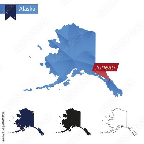 QuotState Of Alaska Blue Low Poly Map With Capital Juneau
