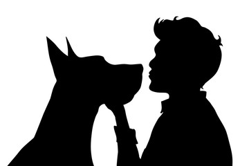Vector silhouette of man with dog.