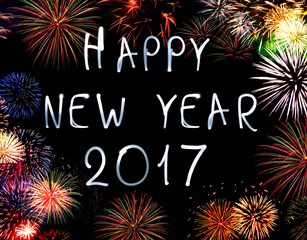 Happy new year 2017 written with Sparkle firework. New year background.