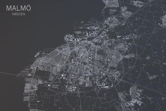 Cartina di Malmö, vista satellitare, città, Svezia