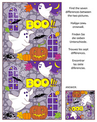 Halloween themed visual puzzle: Find the seven differences between the two pictures of little playful ghosts, bats, pumpkins. Answer included.