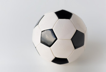 close up of football or soccer ball
