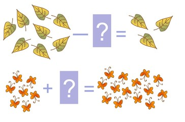 Educational game for children. Cartoon illustration of mathematical addition and subtraction. Examples with leaves and butterflies.