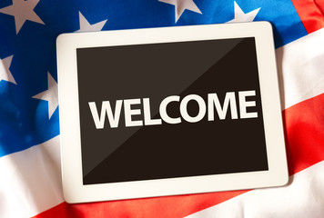 Welcome on tablet and the US flag