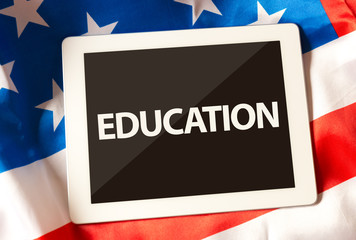 Education on tablet and the US flag