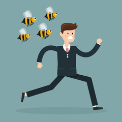 Cartoon businessman was attacked by swarm of angry wild bees and