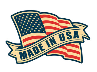 Made in USA (United States of America). Composition with American flag and ribbon in vintage style and colors.