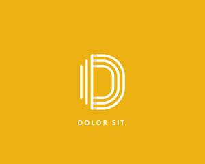 """Letter """"D"""" logo monogram. Creative line art design. Eps10 Vector line logotype."""