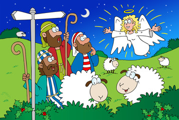 Angel and Shepherds cartoon
