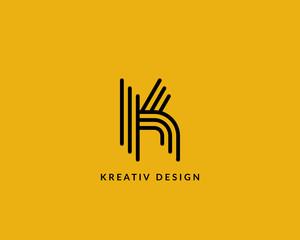 """Letter """"K"""" logo monogram. Creative line art design. Eps10 Vector line logotype."""