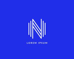 """Letter """"N"""" logo monogram. Creative line art design. Eps10 Vector line logotype."""