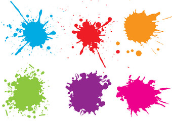 Stores photo Forme Colorful paint splatters.Paint splashes set.Vector illustration.