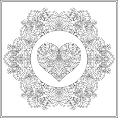 Hand drawn floral mandala with butterflies and decorative Love H