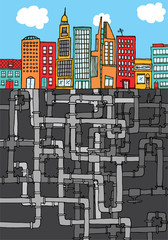 Complex pipelines hiding beneath the city