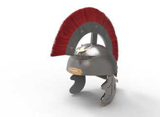3d illustration of ancient roman helmet. white background isolated. icon for game web.