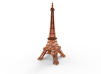 3d illustration of eiffel tower. white background isolated. icon for game web.