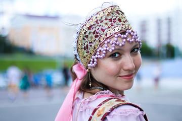 Woman in Russian folk costume