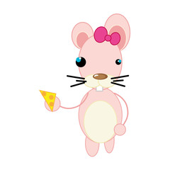 pink mouse with piece of cheese animal cartoon. vector illustration