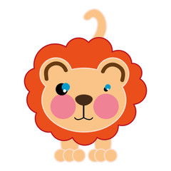 lion with brown nose. wild animal cartoon. vector illustration