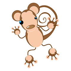 brown monkey with blue eyes. animal cartoon. vector illustration