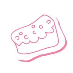 piece of cake sweet dessert bakery draw. vector illustration