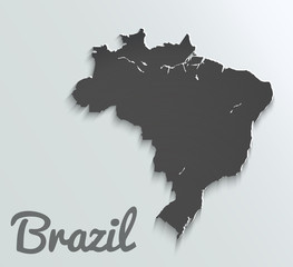 Black Map of Brazil. Abstract vector paper map