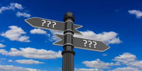Pointers with question mark on a signpost. 3d illustration