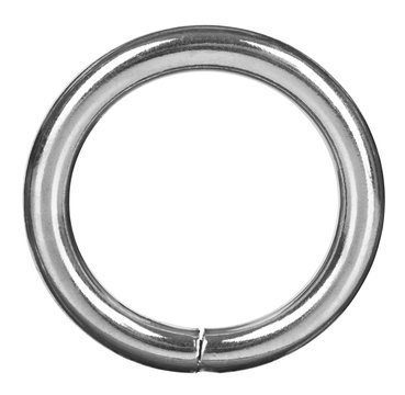 silver ring closeup for needlework isolated on white background