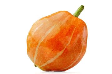 Fresh orange pumpkin on white background