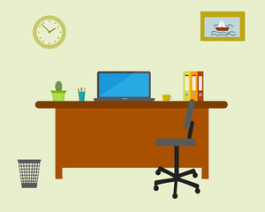 Working place in the office on light green background. Vector illustration. Table, chair, clock, picture. Perfect for advertising, brand sites and magazines