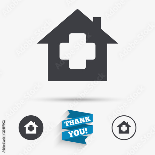Medical Hospital Sign Icon Home Medicine Symbol Stock Image And