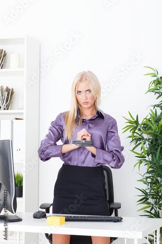beautiful blonde in the office hand tied wire utp photo libre de droits sur la banque d 39 images. Black Bedroom Furniture Sets. Home Design Ideas