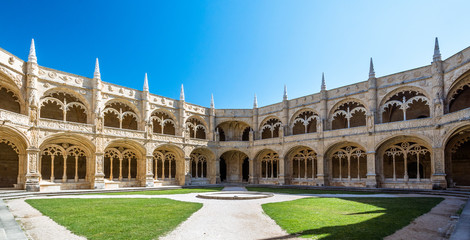 Cloister view of the Jeronimos Monastery in Lisbon, Portugal
