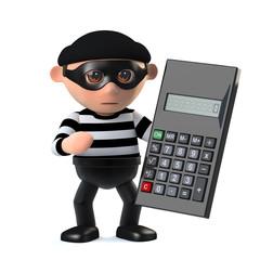 3d Burglar using a calculator